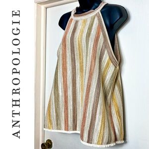 Anthro W5 Sleeveless Striped Top With Fringe Hem